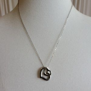 Double Heart Silver Toned Necklace